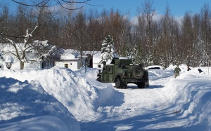 New York National Guard delivering medications from the local pharmacies to stranded residents.